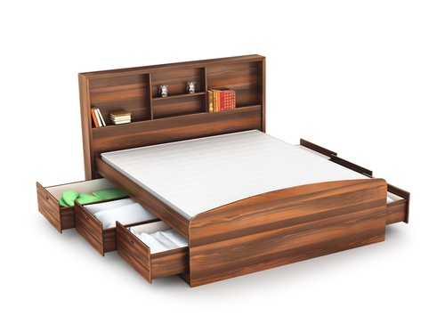 captain's bed with drawers on both sides and headboard shelves